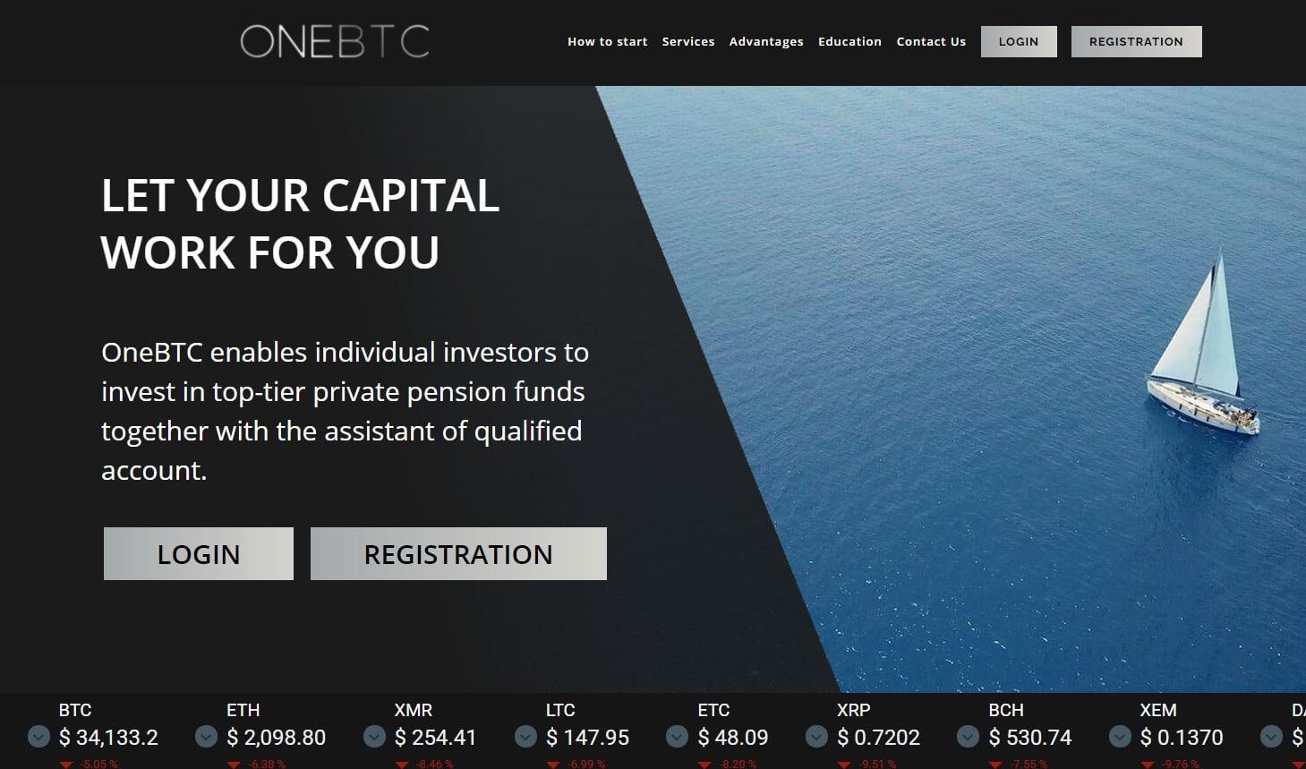 OneBTC.Online official website (screenshot)