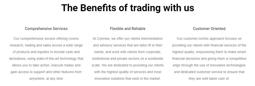 benefits of trading with Coinrise